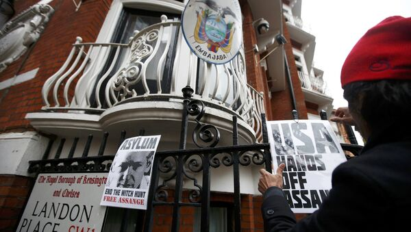 Сторонники Джулиана Ассанжа у посольства Эквадора в Лондоне, 14 ноября 2016 года - Sputnik Азербайджан