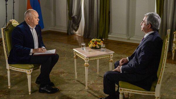 Президент Армении Серж Саргсян дал интервью генеральному директору МИА Россия сегодня Дмитрию Киселеву для Sputnik Армения - Sputnik Азербайджан