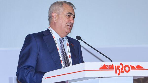 Председатель ЗАО Азербайджанские железные дороги Джавид Гурбанов выступает на железнодорожном бизнес-форуме Стратегическое партнерство 1520: Каспийский регион - Sputnik Азербайджан