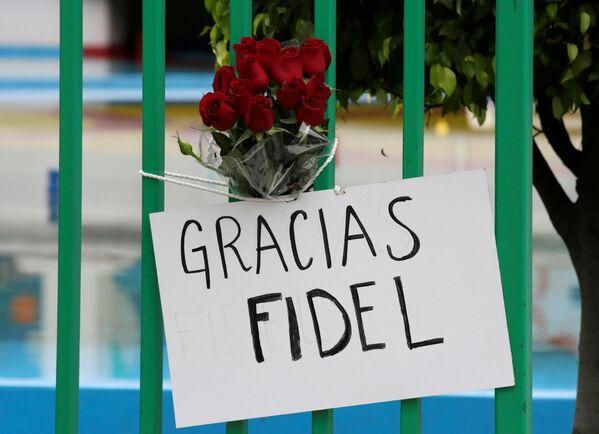 Плакат и цветы у ворот посольства Кубы в Мехико - Sputnik Азербайджан