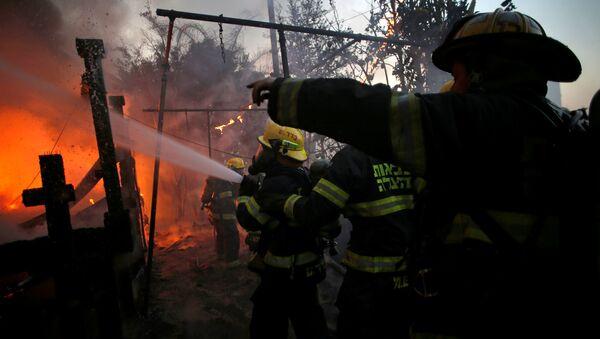 Тушение лесных пожаров в Хайфе, Израиль, 24 ноября 2016 года - Sputnik Азербайджан