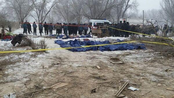 Тела погибших при крушении грузового самолета Boeing-747 в селе Дача-Суу недалеко от аэропорта Манас - Sputnik Азербайджан