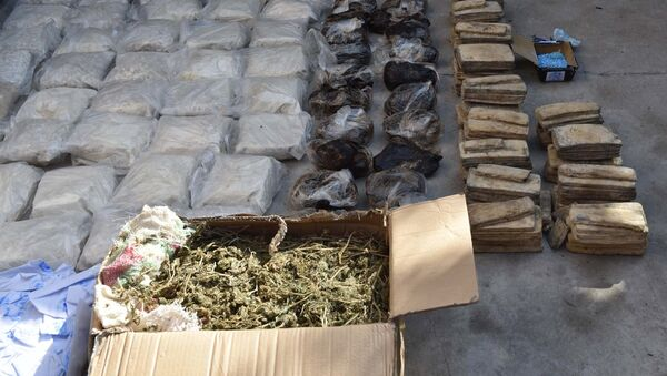 Наркотические вещества перед их уничтожением в антинаркотическом ведомстве, фото из архива - Sputnik Азербайджан