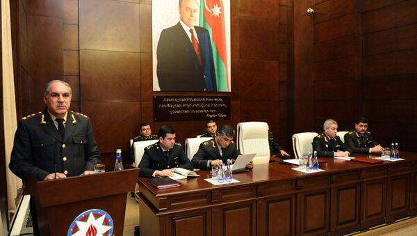 Генерал-лейтенант юстиции Ханлар Велиев в ходе коллегиального заседания в Военной прокуратуре - Sputnik Азербайджан