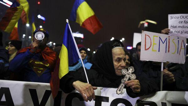 Массовые народные протесты в Румынии - Sputnik Азербайджан