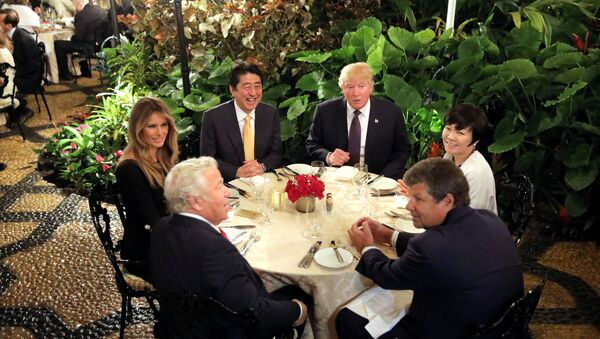 Президент США Дональд Трамп и премьер-министра Японии Синдзо Абэ во Флориде - Sputnik Азербайджан