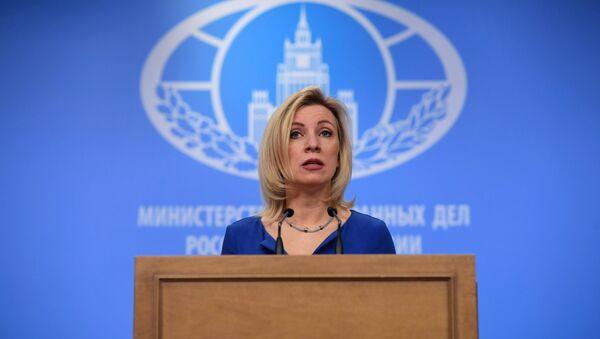 Официальный представитель министерства иностранных дел России Мария Захарова на брифинге по текущим вопросам внешней политики - Sputnik Азербайджан