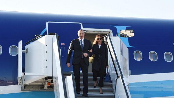 Президент Ильхам Алиев и первая леди Мехрибан Алиева в международном аэропорту Мюнхена - Sputnik Azərbaycan