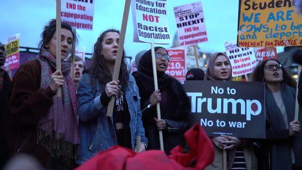 Демонстрация в Лондоне против госвизита Трампа в Великобританию - Sputnik Азербайджан