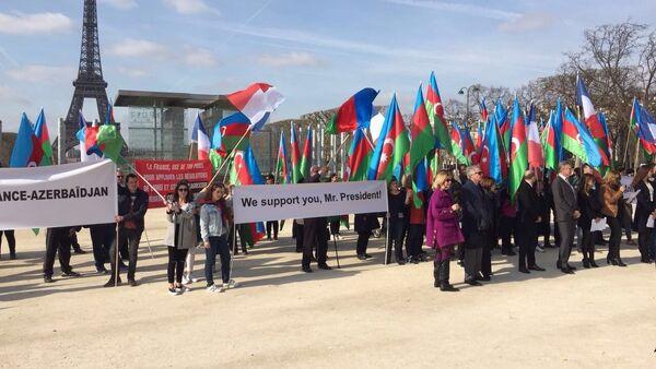 В Париже прошла акция в поддержку президента Ильхама Алиева - Sputnik Azərbaycan