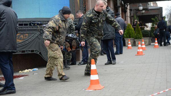Место убийства бывшего депутата Государственной думы РФ Дениса Вороненкова в Киеве - Sputnik Азербайджан