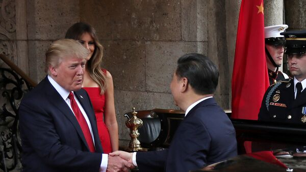 Встреча президента США Дональда Трампа с председателем КНР Си Цзиньпином, поместье Мар-а-Лаго в Палм-Бич, штат Флорида, США, 6 апреля 2017 года. - Sputnik Азербайджан