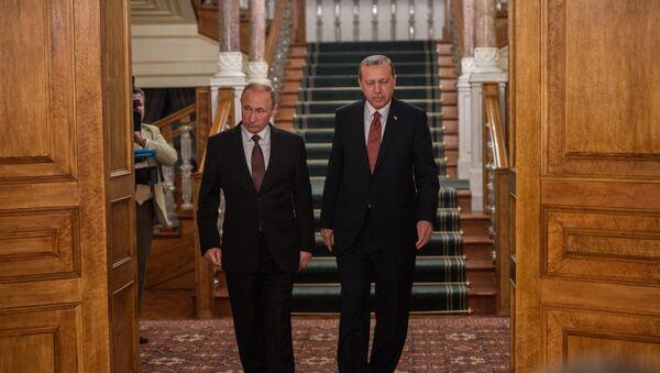 Президенты России и Турции Владимир Путин и Реджеп Тайип Эрдоган перед пресс-конференцией в Стамбуле, 10 октября 2016 года - Sputnik Azərbaycan