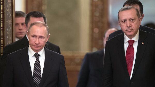 Президент РФ Владимир Путин и президент Турции Реджеп Тайип Эрдоган, 10 марта 2017 годп - Sputnik Азербайджан