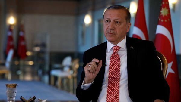Президент Турции Реджеп Тайип Эрдоган в ходе интервью агентству Reuters, Анкара, 25 апреля 2017 года - Sputnik Азербайджан