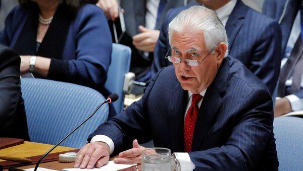 Государственный секретарь США Рекс Тиллерсон выступает на заседании Совета Безопасности ООН в Нью-Йорке, США, 28 апреля 2017 года - Sputnik Азербайджан
