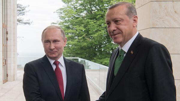 Президент РФ Владимир Путин и президент Турции Реджеп Тайип Эрдоган во время встречи, 3 мая 2017 года - Sputnik Азербайджан