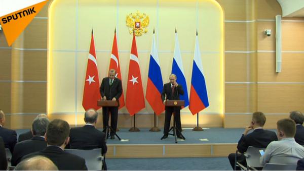 LIVE: Совместная пресс-конференция Владимира Путина и Тайипа Эрдогана в Сочи - Sputnik Азербайджан