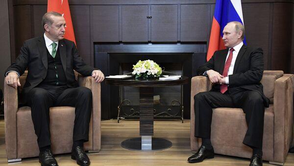 Президент РФ Владимир Путин и президент Турции Реджеп Тайип Эрдоган во время встречи. - Sputnik Азербайджан