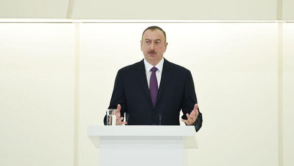 Выступление президента Ильхама Алиева на официальном приеме по случаю 93-й годовщины со дня рождения общенационального лидера Гейдара Алиева и 71-й годовщины Победы над фашизмом, Баку, 10 мая 2016 года - Sputnik Азербайджан