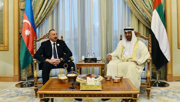Встреча президента Азербайджана Ильхама Алиева с наследным принцем Абу-Даби шейхом Мухаммедом бен Зайед Аль Нахайяном - Sputnik Азербайджан