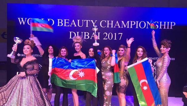Азербайджанские парикмахеры и визажисты на чемпионате мира по парикмахерскому искусству и макияжу в Дубае - Sputnik Азербайджан