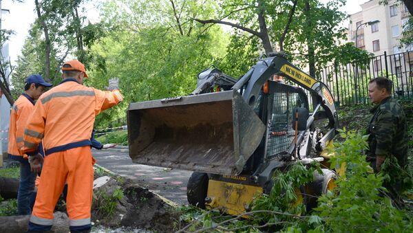 Работники коммунальных служб убирают поваленные деревьев в одном из дворов Москвы, 30 мая 2017 года - Sputnik Азербайджан
