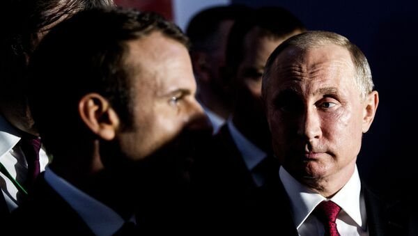 Встреча президентов Франции и России Эммануэля Макрона и Владимира Путина, Версаль, 29 мая 2017 года - Sputnik Азербайджан