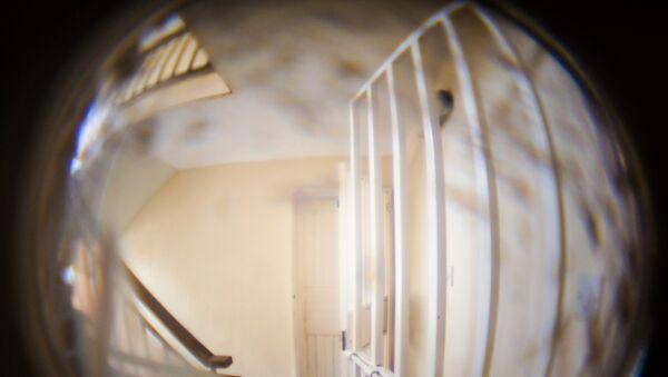 Вид на лестничную площадку через дверной глазок, фото из архива - Sputnik Азербайджан