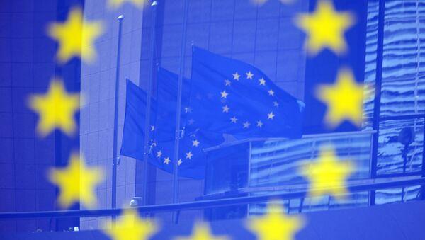 Флаги в отражении на стенде с эмблемой ЕС - Sputnik Азербайджан