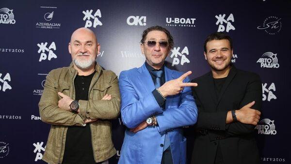Сергей Кожевников, Григорий Лепс и Эмин на pre-party фестиваля Жара-2017 - Sputnik Азербайджан