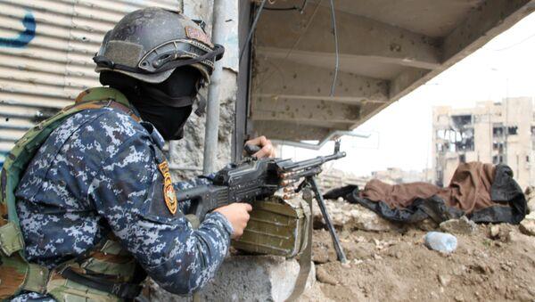 Военнослужащий иракской армии на огневой позиции в Мосуле - Sputnik Азербайджан