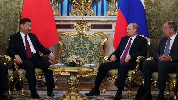 Встреча президента РФ В. Путина и председателя КНР Си Цзиньпина в Москве - Sputnik Азербайджан