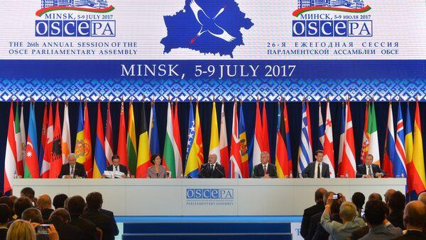 Заседание 26-й ежегодной сессии Парламентской ассамблеи Организации по безопасности и сотрудничеству в Европе (ОБСЕ) в Минске - Sputnik Азербайджан