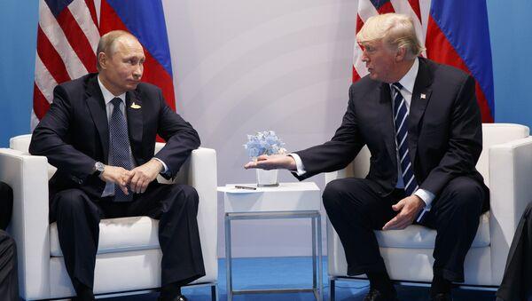 Встреча президентов США и России Дональда Трампа и Владимира Путина в ходе саммита G20, Гамбург, Германия, 7 июля 2017 года - Sputnik Azərbaycan