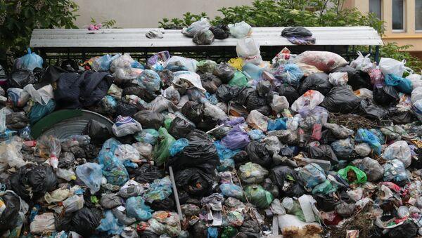 Невывезенный мусор на свалке, фото из архива - Sputnik Азербайджан