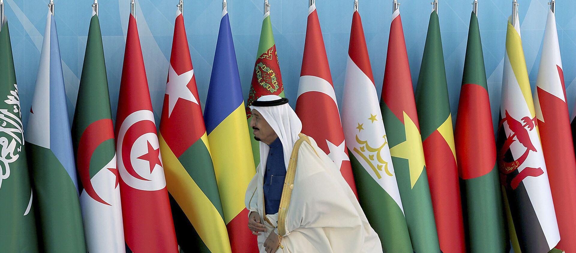 Флаги стран ОИС во время саммита в Стамбуле, 14 апреля 2016 года - Sputnik Азербайджан, 1920, 08.04.2021