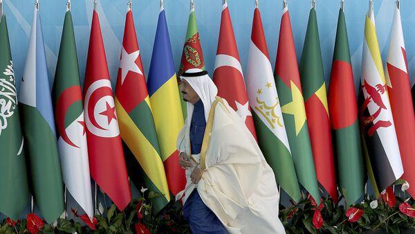 Флаги стран ОИС во время саммита в Стамбуле, 14 апреля 2016 года - Sputnik Azərbaycan