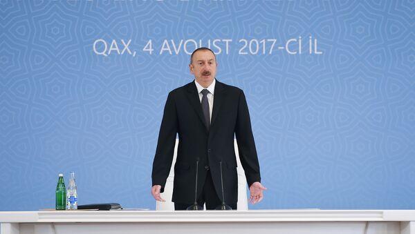 Выступление Ильхама Алиева на общереспубликанском совещании в Гахе - Sputnik Азербайджан