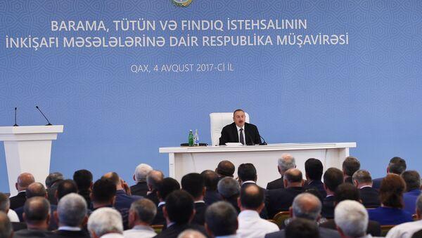 Общереспубликанское совещание по вопросам развития шелководства, табаководства и фундуководства в Гахе - Sputnik Азербайджан