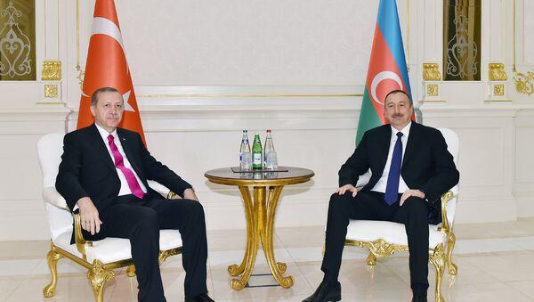 Azərbaycan prezidenti İlham Əliyev və Türkiyə prezidenti Rəcəb Tayyib Ərdoğan, 25 aprel 2016-cı il - Sputnik Azərbaycan