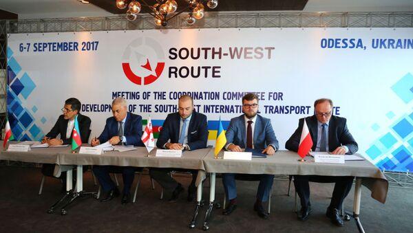 Конференция, посвященная развитию международного транспортного коридора Юг-Запад - Sputnik Азербайджан