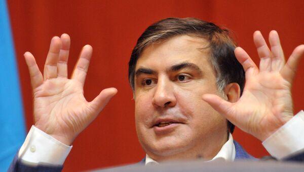 Лидер Движения новых сил, бывший глава Одесской области Михаил Саакашвили выступает в национальном университете Львовская политехника во Львове, 20 декабря 2016 года - Sputnik Азербайджан