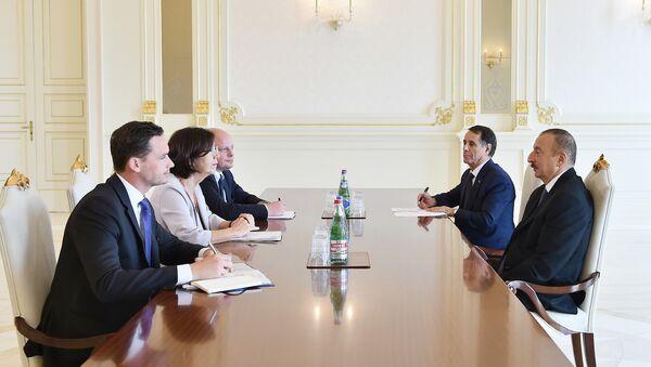 Председатель ПА ОБСЕ Кристин Муттонен на встрече с президентом Азербайджана Ильхамом Алиевым - Sputnik Азербайджан