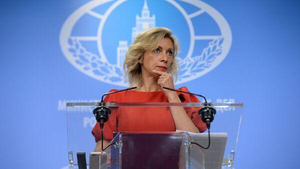 Официальный представитель министерства иностранных дел России Мария Захарова во время брифинга в Москве, фото из архива - Sputnik Азербайджан