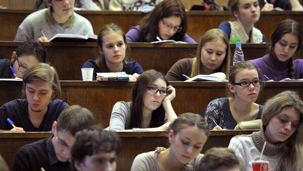 Студенты в аудитории, фото из архива - Sputnik Азербайджан