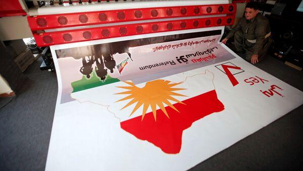 Kürdüstanda keçirilən referendumunun plakatının çapı, Ərbil, 26 avqust 2017-ci il - Sputnik Азербайджан