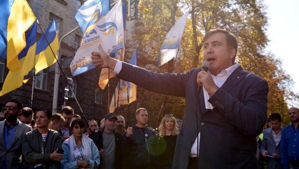 Бывший президент Грузии, экс-губернатор Одесской области Михаил Саакашвили во время выступления в Киеве, 19 сентября 2017 года - Sputnik Азербайджан