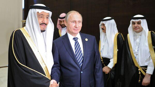 Президент России Владимир Путин и король Саудовской Аравии, председатель Совета министров королевства Саудовская Аравия Сальман бен Абдельзир Аль Сауд, фото из архива - Sputnik Азербайджан