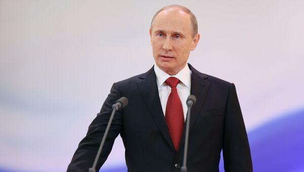 Избранный президент РФ Владимир Путин во время церемонии инаугурации в Андреевском зале Большого Кремлевского дворца. 7 мая 2012 года - Sputnik Азербайджан